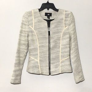 H&M Women's Cream Oatmeal Zip Up Blazer Size 4